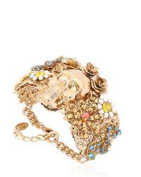 Halo | Metallic English Garden Skull Cuff Bracelet | Lyst