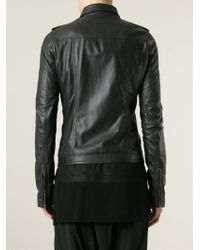 Rick Owens - Black Fitted Biker Jacket for Men - Lyst