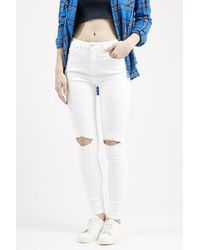 TOPSHOP | Moto White Busted Jamie Jeans | Lyst