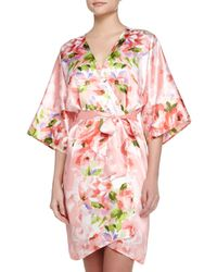 Oscar de la Renta - Multicolor Garden Party-print Short Wrap Robe - Lyst