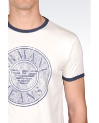 Armani Jeans | White T-shirt In Cotton Jersey for Men | Lyst