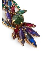 Erickson Beamon | Multicolor 'hyperdrive' Swarovski Crystal Oval Leaf Earrings | Lyst