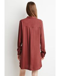 Forever 21 | Brown Zippered Shirt Dress | Lyst