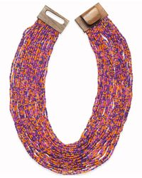 Style & Co. | Pink Gold-tone Multicolor Seed Bead Multi-row Necklace | Lyst