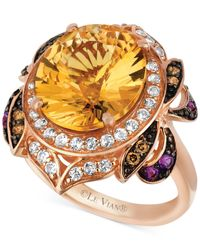 Le Vian | Multicolor Multi-stone (6-3/4 Ct. T.w.) And Chocolate Diamond (1/8 Ct. T.w.) Oval- And Round-cut Ring In 14k Rose Gold | Lyst