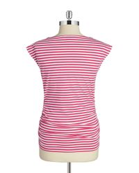 MICHAEL Michael Kors   Pink Petite Ruched Zip Top   Lyst