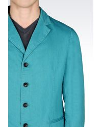 Armani - Blue Jacket In Linen And Cotton for Men - Lyst