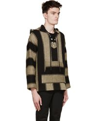 Saint Laurent - Natural Beige & Black Linen Poncho Hoodie for Men - Lyst