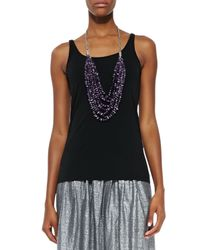 Eileen Fisher - Black Silk Jersey Long Cami - Lyst
