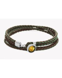 Tateossian - Green Silver Gold Leaf Button Bracelet With Gold Leaf for Men - Lyst