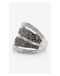 Express - Black Pave Tonal Stripe Ring - Lyst