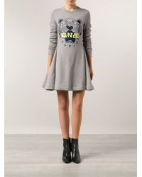 KENZO - Gray Embroidered Flared Dress - Lyst