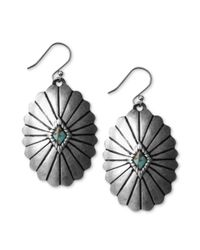 Lucky Brand | Metallic Silvertone Reconstituted Turquoise Disk Earrings | Lyst