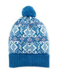 Brora | Blue Fair Isle Cashmere Knit Beanie | Lyst