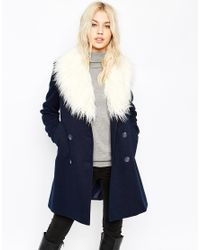 ASOS - Blue Pea Coat With Faux Fur Trim - Lyst