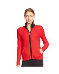 Ralph Lauren - Red Color-blocked Cotton Sweater - Lyst