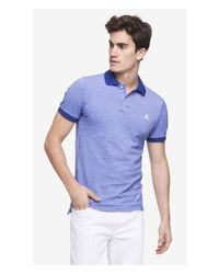 Express | Blue Fitted Small Lion Oxford Pique Polo for Men | Lyst