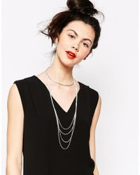 Monki | Metallic Agnes Multirow Choker Necklace | Lyst