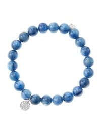 Sydney Evan | Blue 8Mm Kyanite Beaded Bracelet With Mini White Gold Pave Diamond Disc Charm (Made To Order) | Lyst