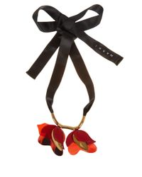 Marni - Black Red Resin and Horn Ribbon Necklace - Lyst