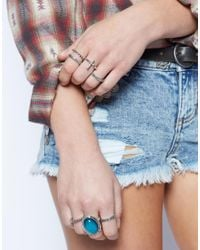 ASOS - Blue Mood Stone Ring Pack - Lyst
