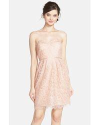Jenny Yoo | Pink 'hudson Lyon' Strapless Gilded Lace Dress | Lyst