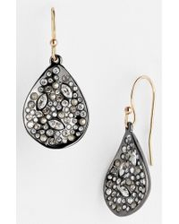 Alexis Bittar | Metallic 'miss Havisham' Crystal Encrusted Teardrop Earrings - Gunmetal | Lyst