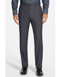 BOSS - Blue 'giro' Flat Front Windowpane Trousers for Men - Lyst