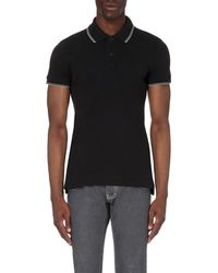 Armani Jeans | Black Embroidered-logo Stretch-cotton Polo Shirt for Men | Lyst