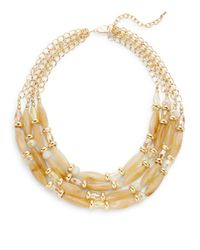 Saks Fifth Avenue | Metallic Multi-strand Bead & Chain Necklace | Lyst