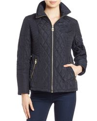 MICHAEL Michael Kors | Blue Quilted Hooded Coat | Lyst