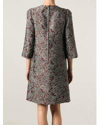 Dolce & Gabbana - Red Floral Jacquard Dress - Lyst