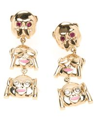 Alison Lou - Metallic Three Monkeys Drop Earrings - Lyst