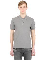 Belstaff | Gray Westley Cotton Piqué Biker Polo Shirt for Men | Lyst