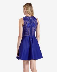 Ted Baker | Blue Lace Detail Skater Dress | Lyst