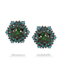 Lanvin | Green Iconic Gunmetal-Tone Crystal Clip Earrings | Lyst