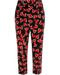 Boutique Moschino - - Printed Silk Crepe De Chine Tapered Pants - Black - Lyst