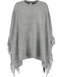 Iris & Ink | Gray Esme Fringed Knitted Poncho | Lyst