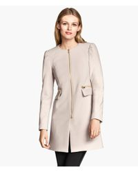 H&M - Natural Short Coat - Lyst