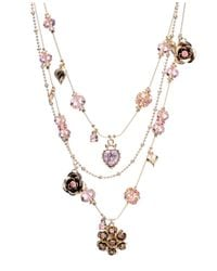Betsey Johnson | Pink Crystal Illusion Necklace | Lyst