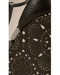 Burberry - Black Lace-Look Leather Wedges - Lyst