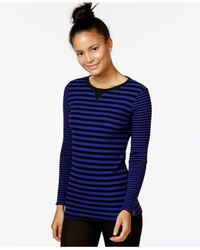 Calvin Klein | Purple Performance Striped Thermal Top | Lyst