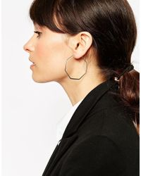 ASOS | Metallic 45mm Fine Hexagon Hoop Earrings | Lyst