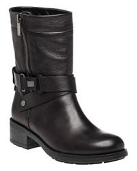 Aquatalia - Black Sami Leather Biker Boots - Lyst