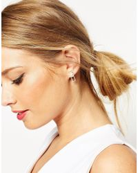 ASOS - Metallic Rectangle & Pearl Stud Earrings - Lyst