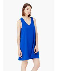 Mango | Blue V-neckline Dress | Lyst