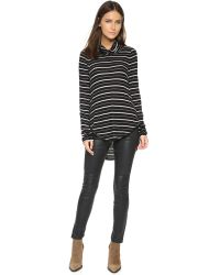 Free People - Black Drippy Striped Jersey Top - Lyst