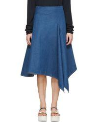 Stella McCartney | Blue Indigo Asymmetrical Denim Skirt | Lyst