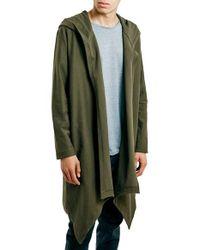 TOPMAN | Green Super Longline Open Drape Hoodie for Men | Lyst
