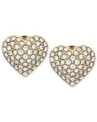 Michael Kors - Metallic Gold-Tone Crystal Heart Stud Earrings - Lyst